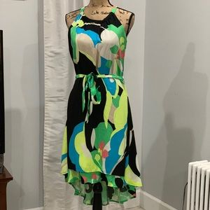 New York & Company high low bold print dress sz M
